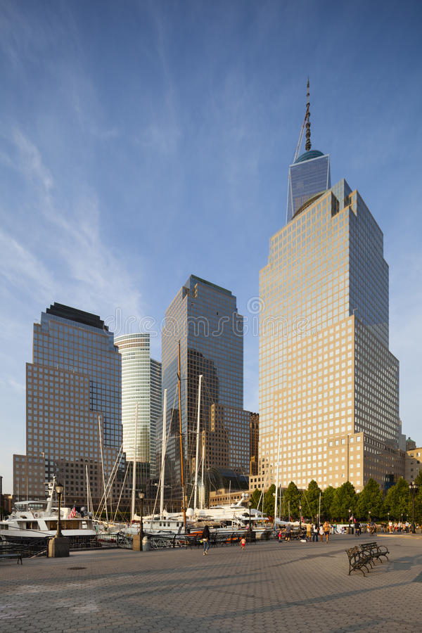 World Financial Center, New York, editorial. New York City - June 23: World Financial Center in New York with the One World Trade Center in the background and royalty free stock images