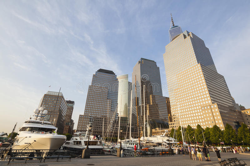 World Financial Center, New York, editorial. New York City - June 23: World Financial Center in New York with the One World Trade Center in the background and royalty free stock image