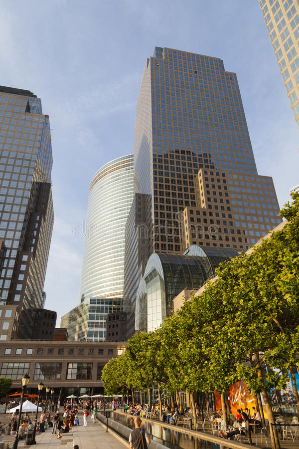 World Financial Center, New York, editorial. New York City - June 23: World Financial Center in New York with the One World Trade Center in the background and royalty free stock photo