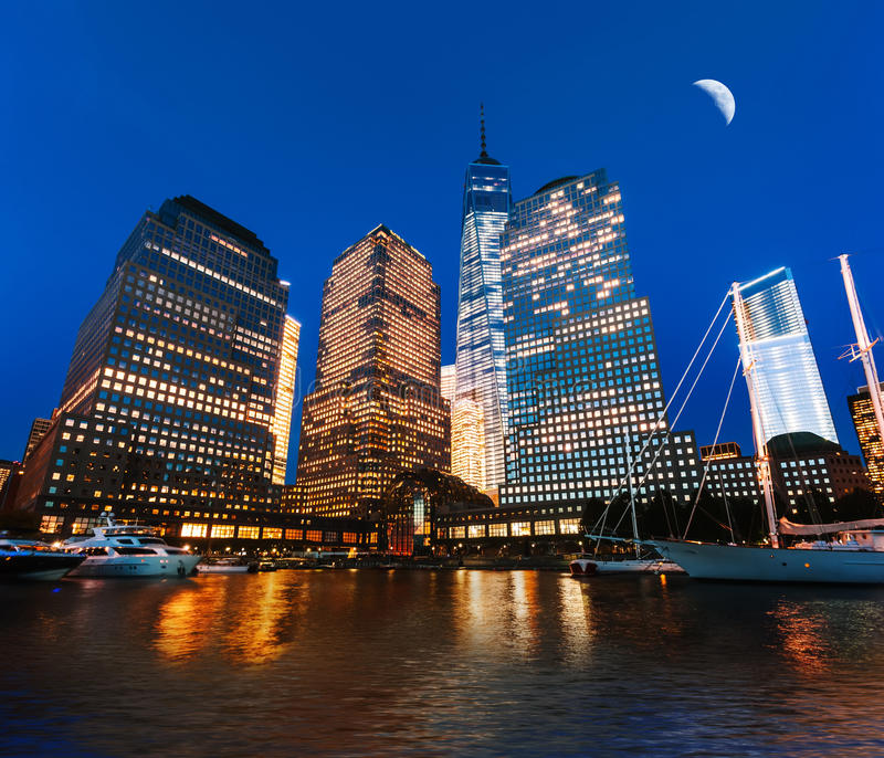 World Financial Center at night. Viewed from the Hudson river, New York, USA royalty free stock image