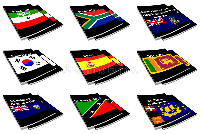World flag book collection 26 stock photography