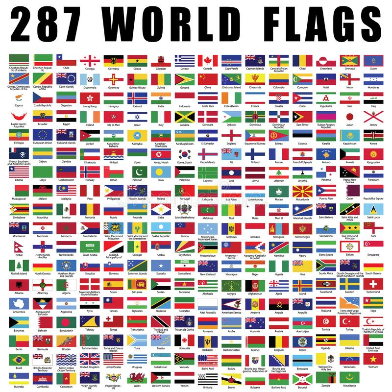 World Flag Flat Icon Collection With 287 All Nations Country Flags Stock Vector Illustration Of Australia Korea 146391016