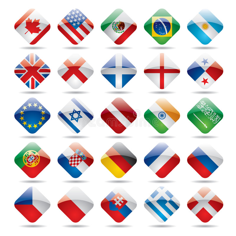 World flag icons 1. Raster version of vector set world flag icons 1 There is in addition a vector format (EPS 8 vector illustration
