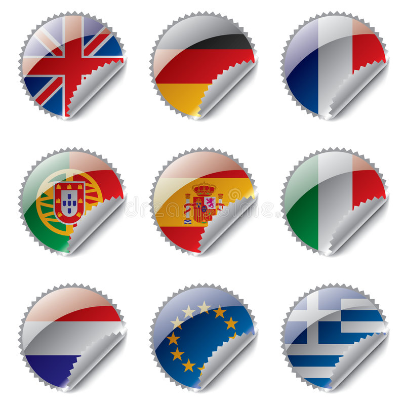 World flag labels stock illustration