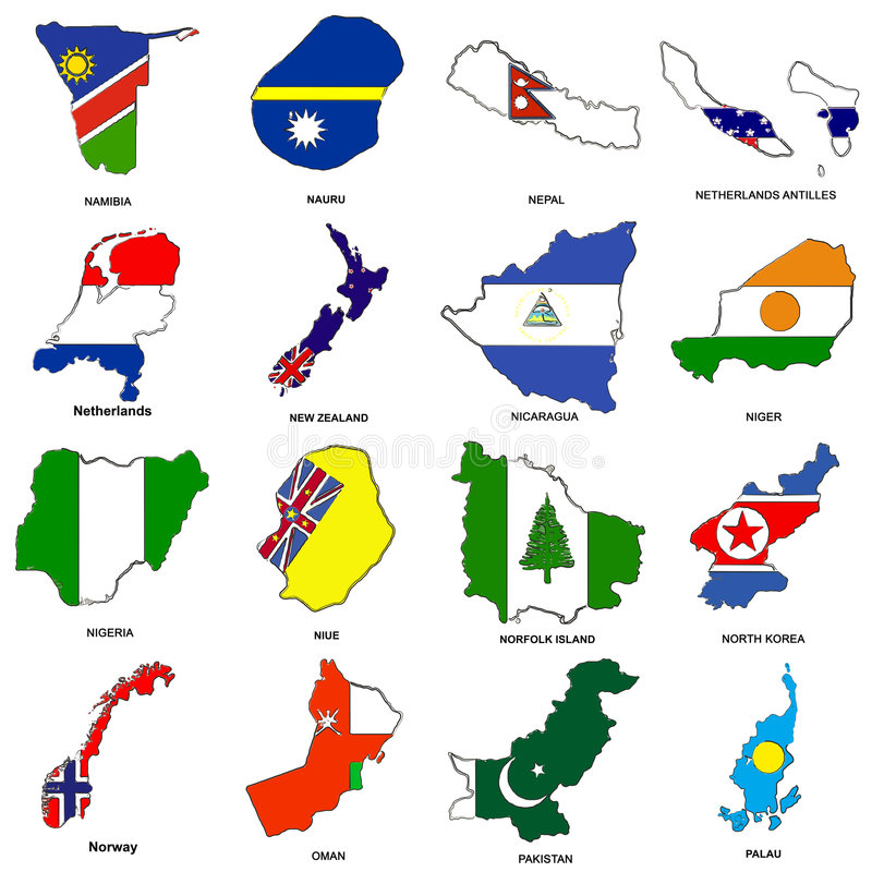 World flag map sketches collection 09 royalty free illustration