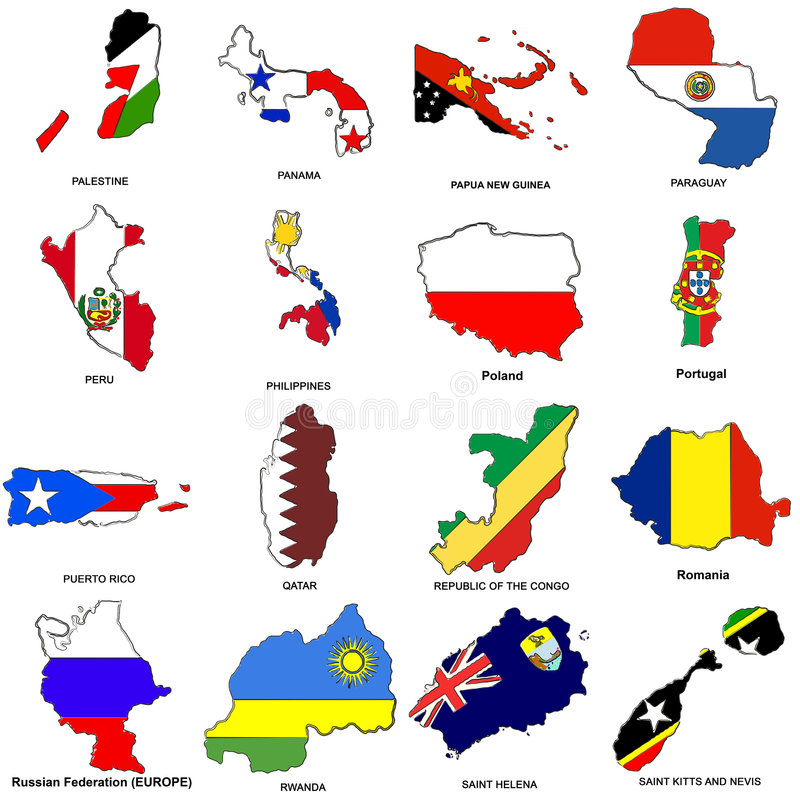 World flag map sketches collection 10