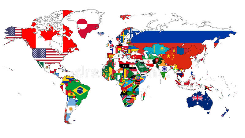 World Flag Map. A world map in which the countries are filled in with their flags