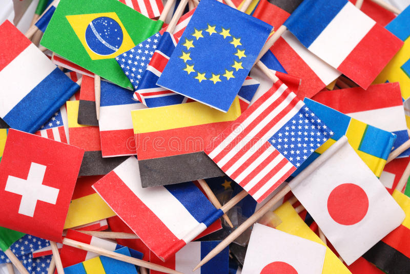 World flags. Little flags of different countries royalty free stock photos