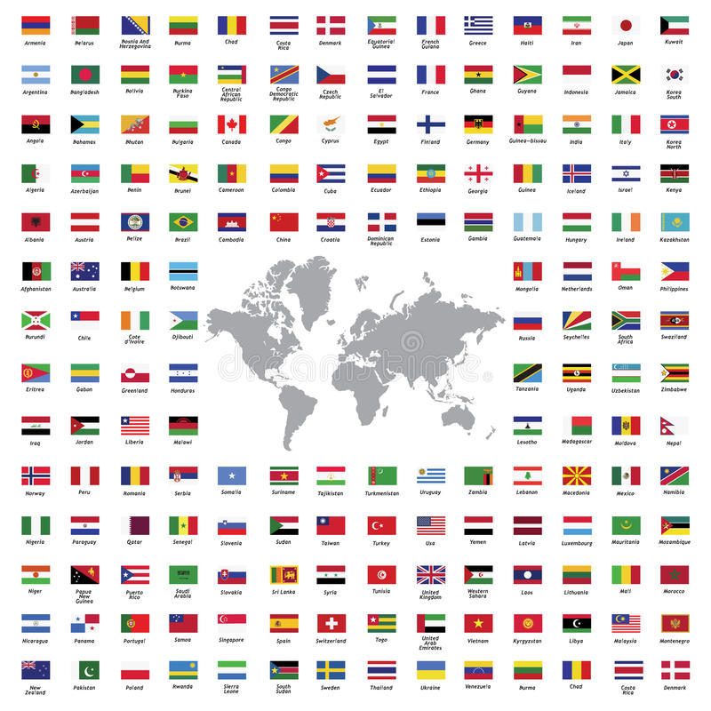 World flags all royalty free illustration