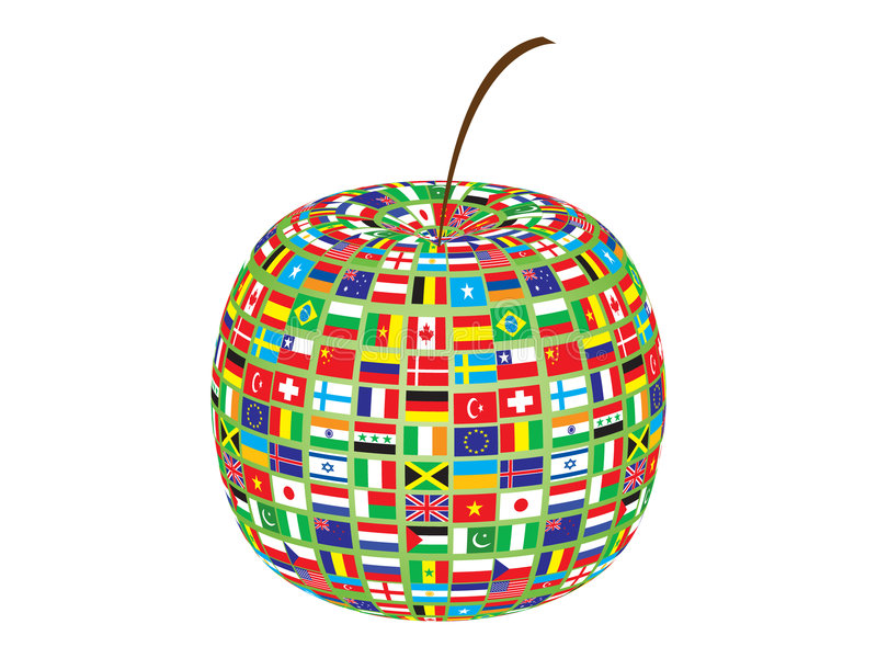 World flags on apple vector illustration