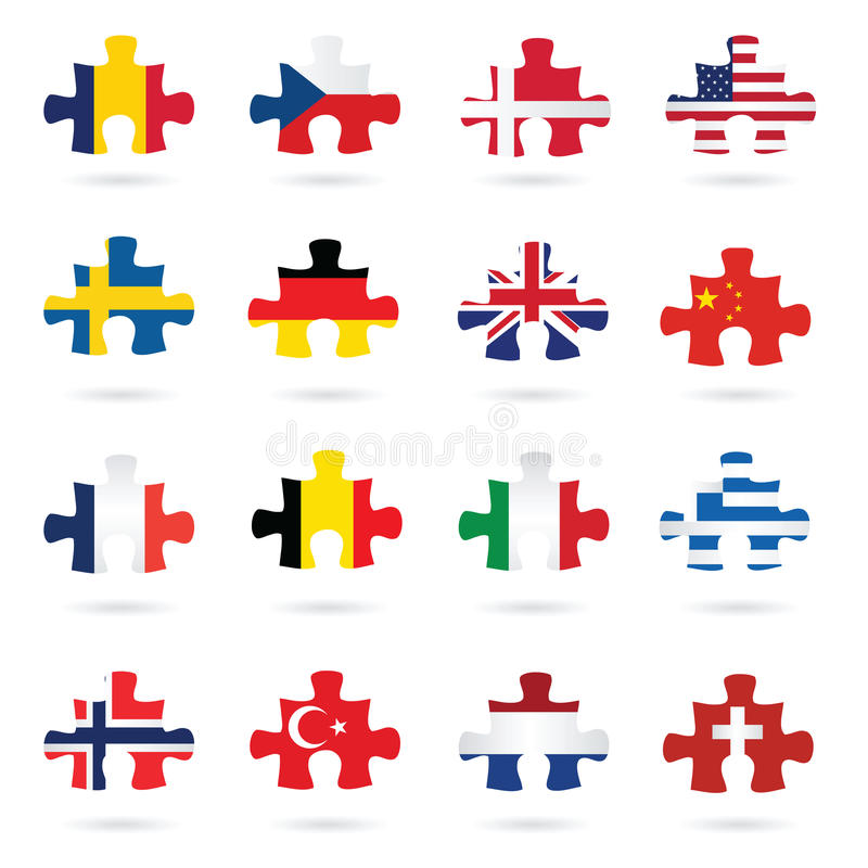 World flags as jigsaw puzzle pieces stock illustration