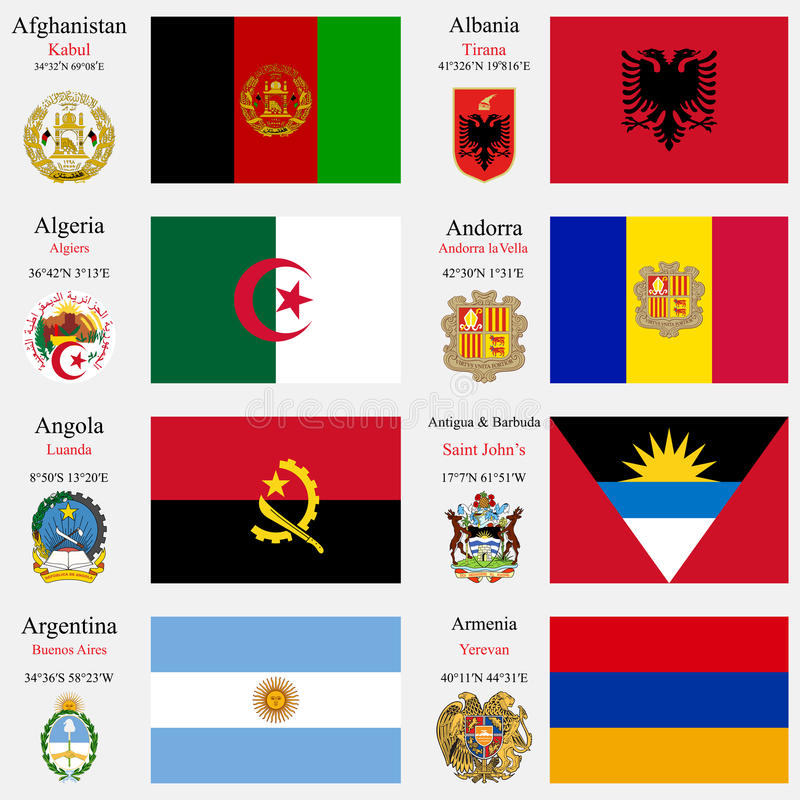 World flags and capitals set 1. World flags of Afghanistan, Albania, Algeria, Andorra, Angola, Antigua and Barbuda, Argentina and Armenia, with capitals royalty free illustration