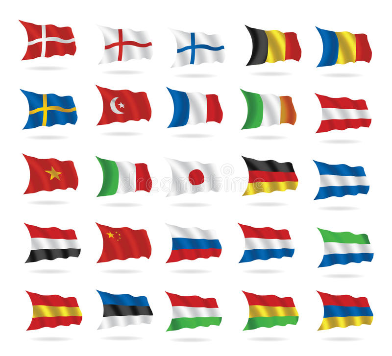 World Flags Collection On White Stock Photo