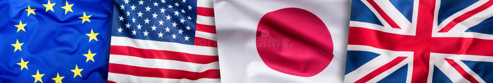 World flags concept. Collage of four countries, world flags. European Union Great Britain American and Japan Flags stock images