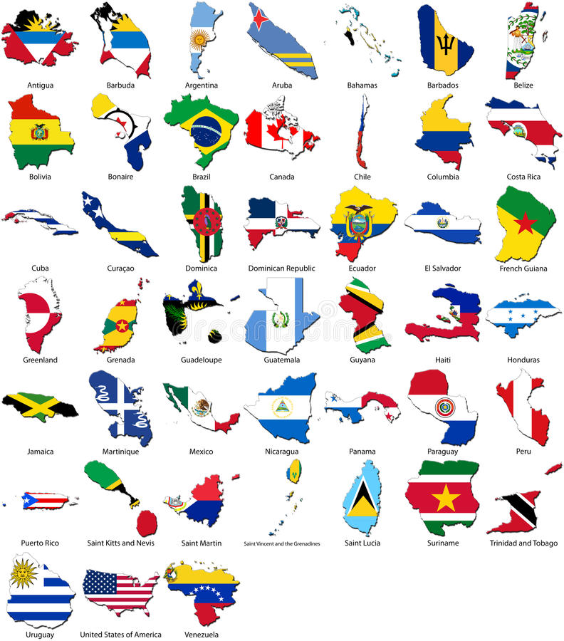 World flags - country border - American set vector illustration