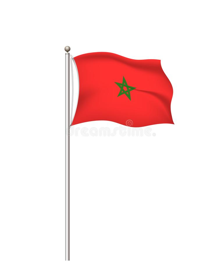 World flags. Country national flag post transparent background. Morocco. Vector illustration. royalty free illustration