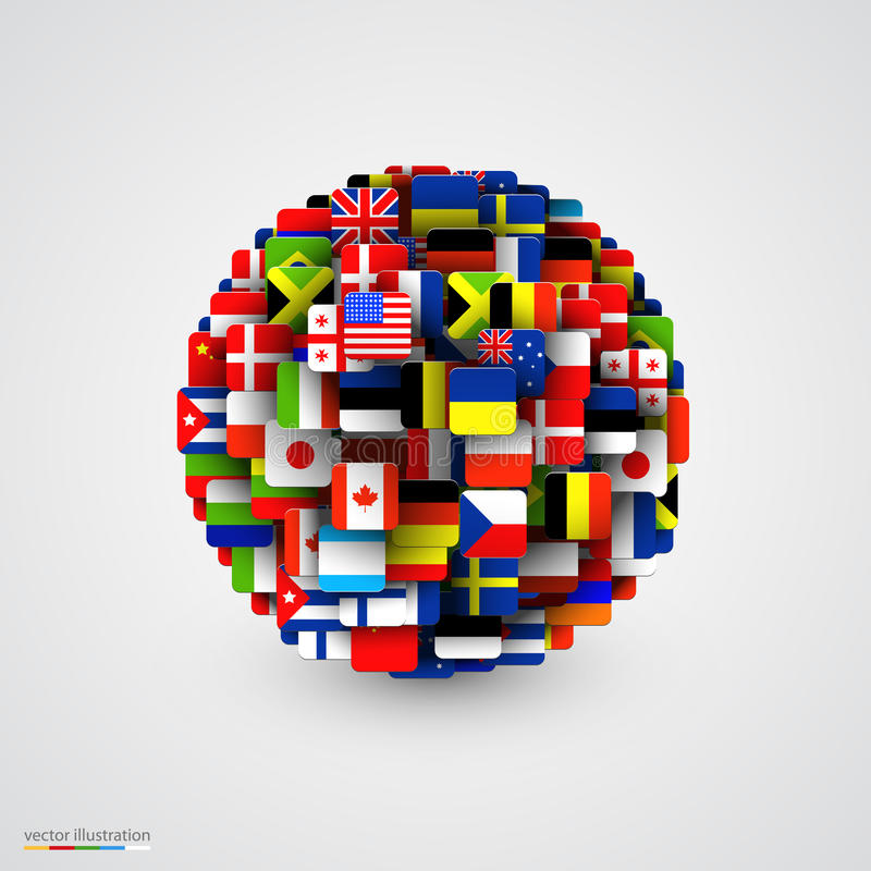 World flags in form of sphere. stock illustration
