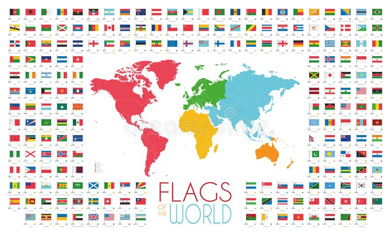 204 world flags with world map by continents vector illustration download 204 world flags with world map by continents vector illustration stock vector illustration of gumiabroncs Images