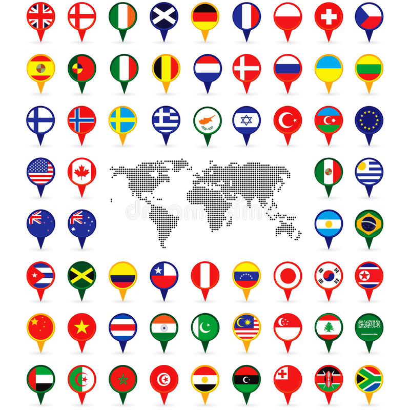 World flags on map pins stock vector illustration of country 35326892 download world flags on map pins stock vector illustration of country 35326892 gumiabroncs Choice Image