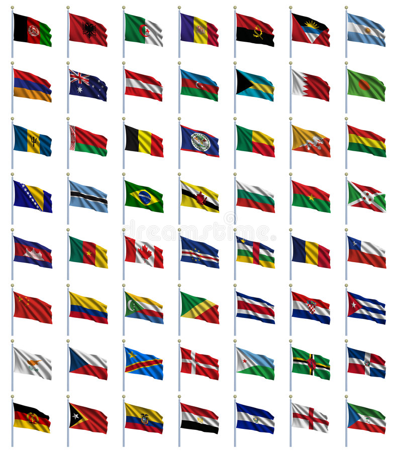 World Flags Set 1 of 4. A to E - set of flags in alphabetical order from Afghanistan to Equatorial Guinea royalty free illustration