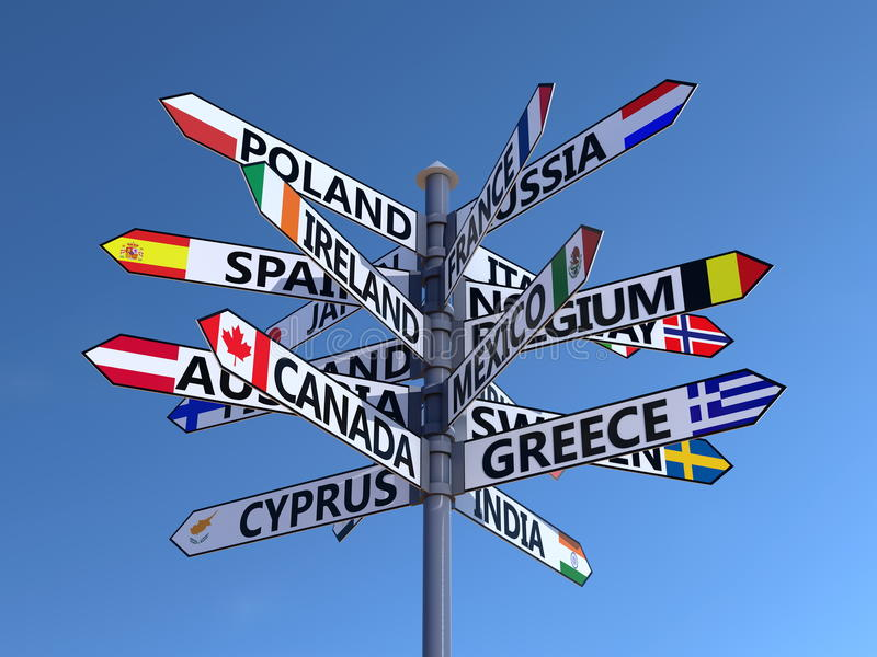 World flags signpost. Signpost containing various flags and country names. Blue cloudless sky stock illustration