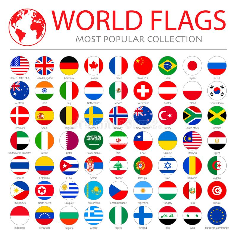 World flags vector collection. 63 high quality clean round icons. royalty free illustration