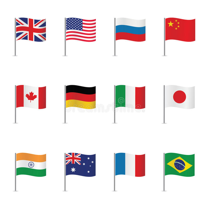 World flags. Vector set. stock illustration