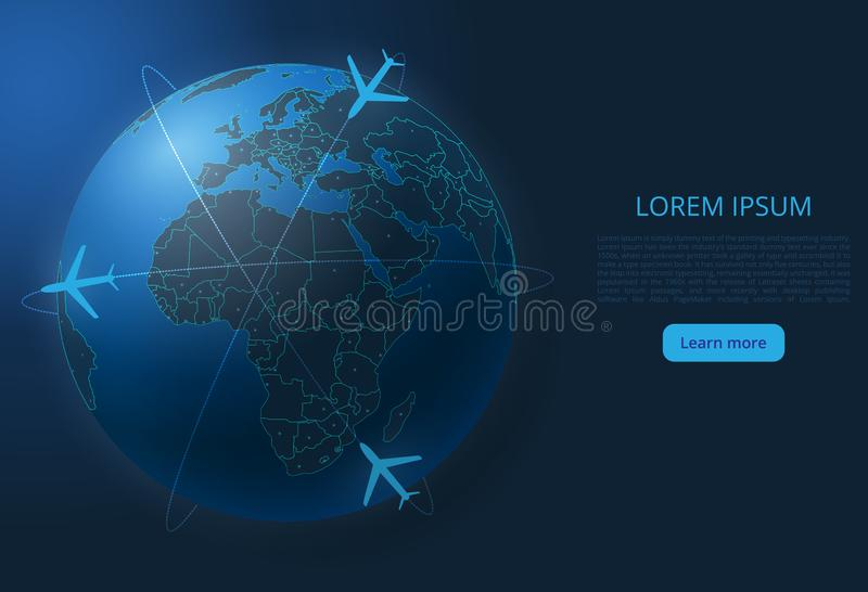 World flight map. Vector image of a global map with lights in the form of cities of the world. The end of the organization of air transportation. Easy to edit vector illustration