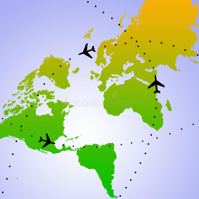 World flights. Airplanes flying all around the world stock illustration