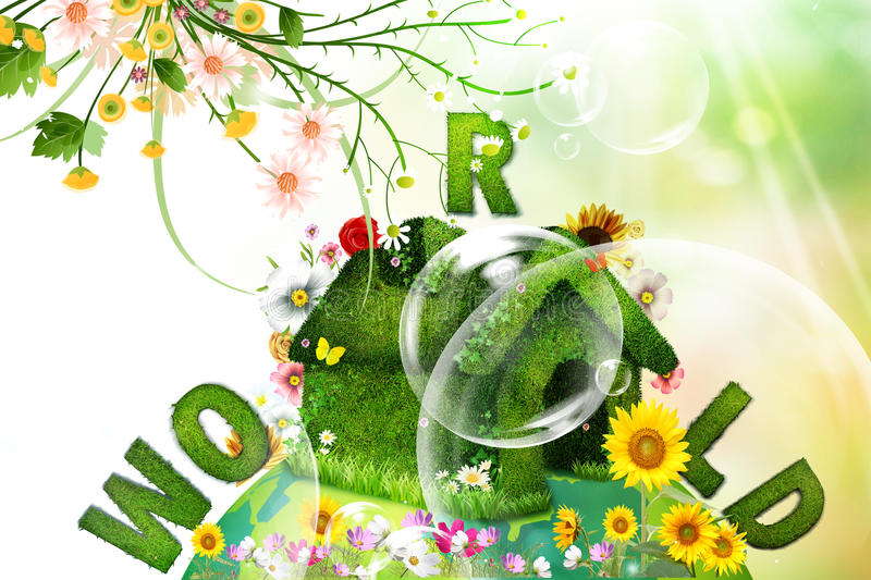 World and flowers stock illustration