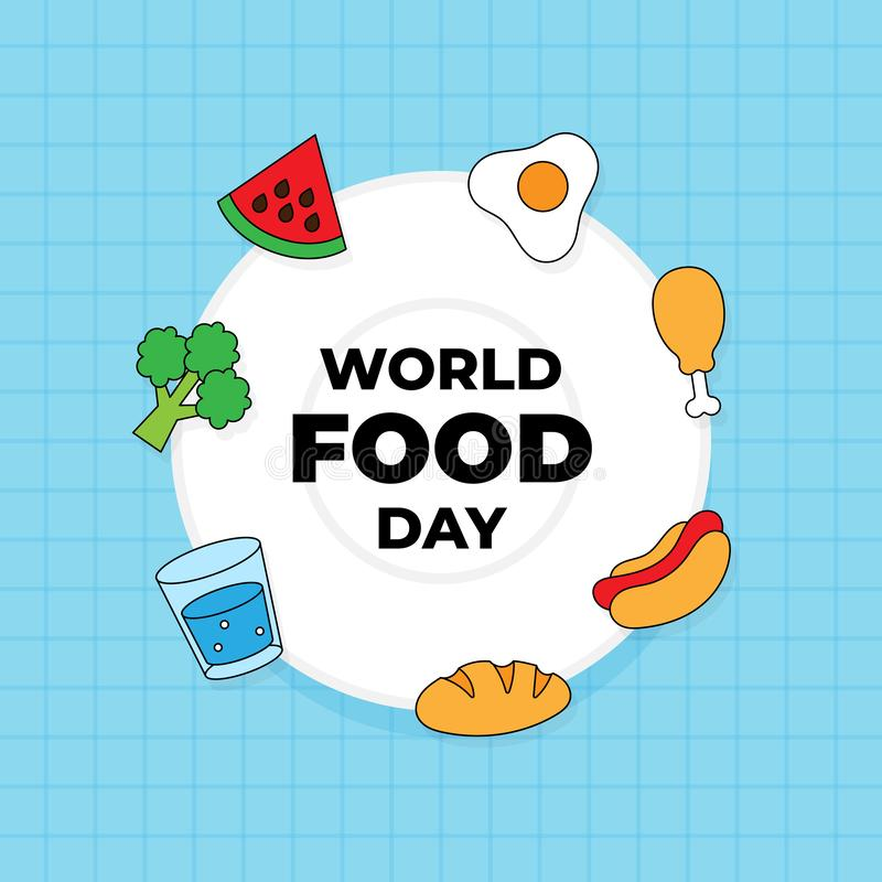 World food day celebration poster background design. various kinds of food and drink icon on plate vector illustration vector illustration