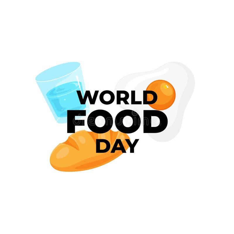 World food day celebration text on beard egg drink water vector illustration for world food day poster background concept design stock illustration