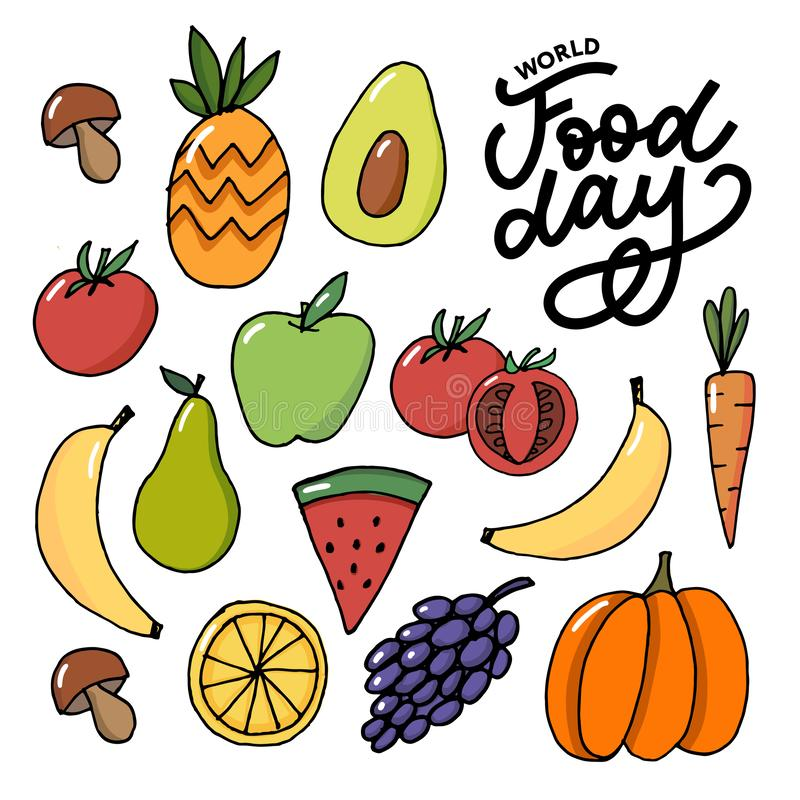 World Food Day Vector Illustration. Suitable for greeting card, poster and banner. Background, design, element, important, simple, vegetarian, advertising stock illustration