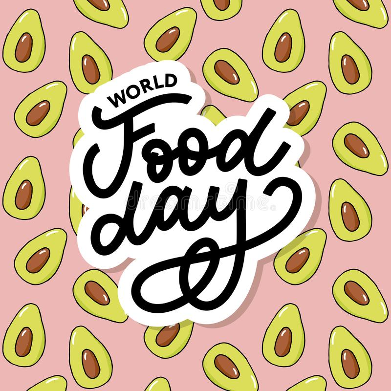 World Food Day Vector Illustration. Suitable for greeting card, poster and banner. Background, design, element, important, simple, vegetarian, advertising royalty free illustration