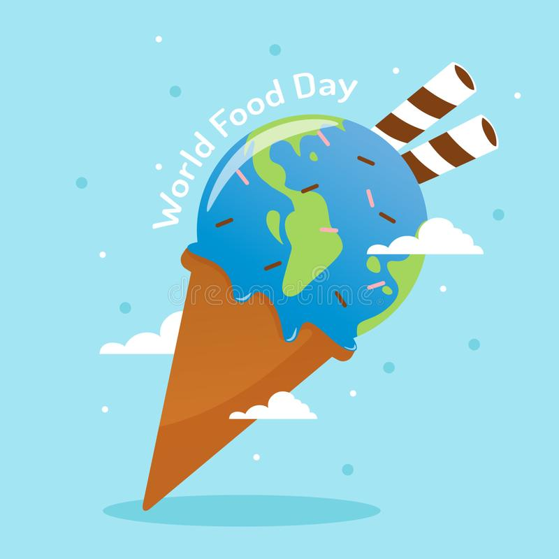 World food day with world shape in ice cream and wafer stick vector stock illustration