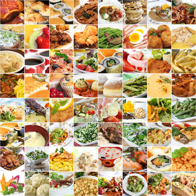 World food and drinks collage stock images