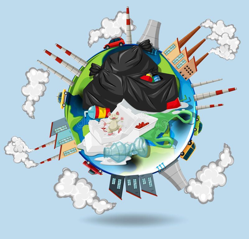 World full of pollutions and trash stock illustration