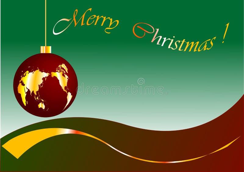 World glob. Christmas glob with gold world stock illustration