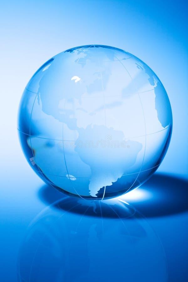 World Globe. Glass world globe in blue tone