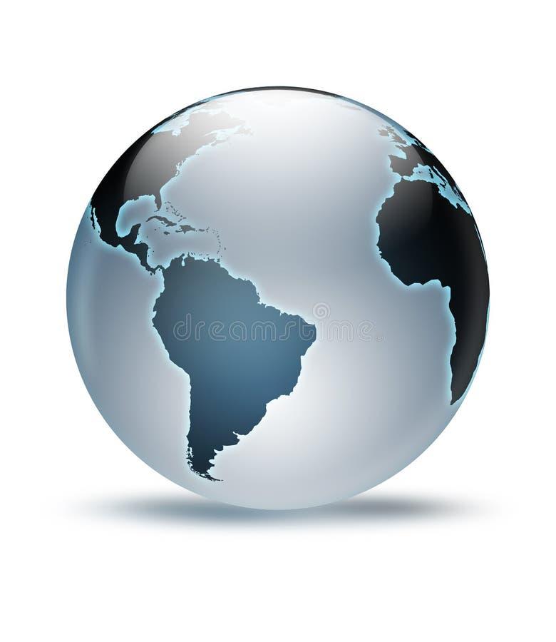 World GLobe. Blueish shiny planet earth globe