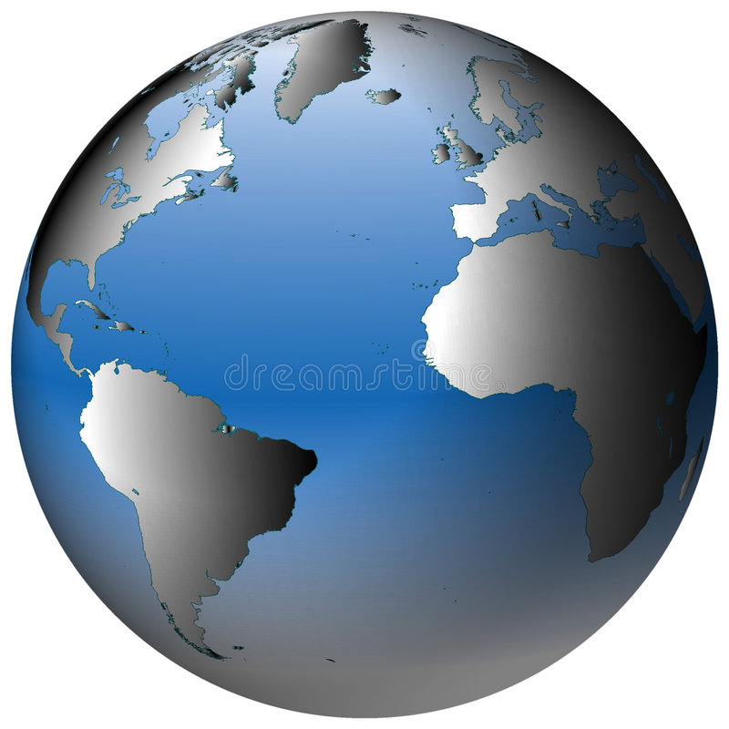 World Globe:Atlantic, with blue-shaded oceans stock illustration