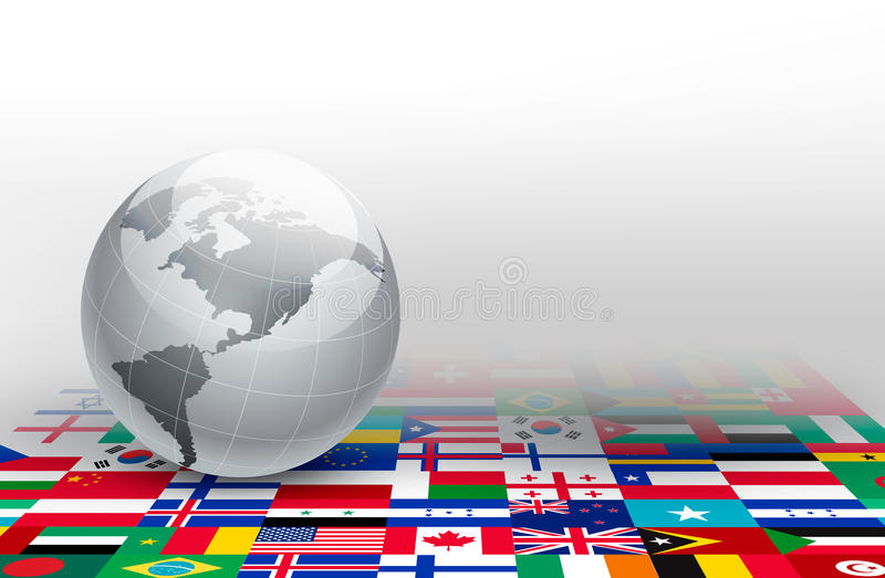 World globe on a background made of flags. Vector royalty free illustration