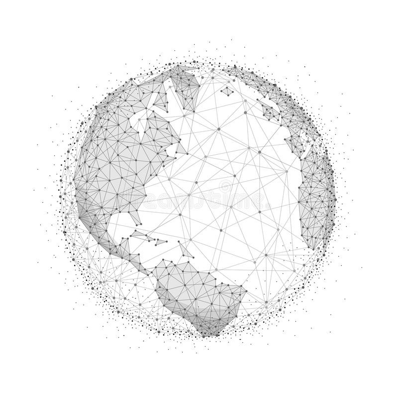 World globe in blockchain technology network style stock vector world map globe illustration in blockchain technology network style block chain polygon peer to peer network connected lines technique gumiabroncs Gallery