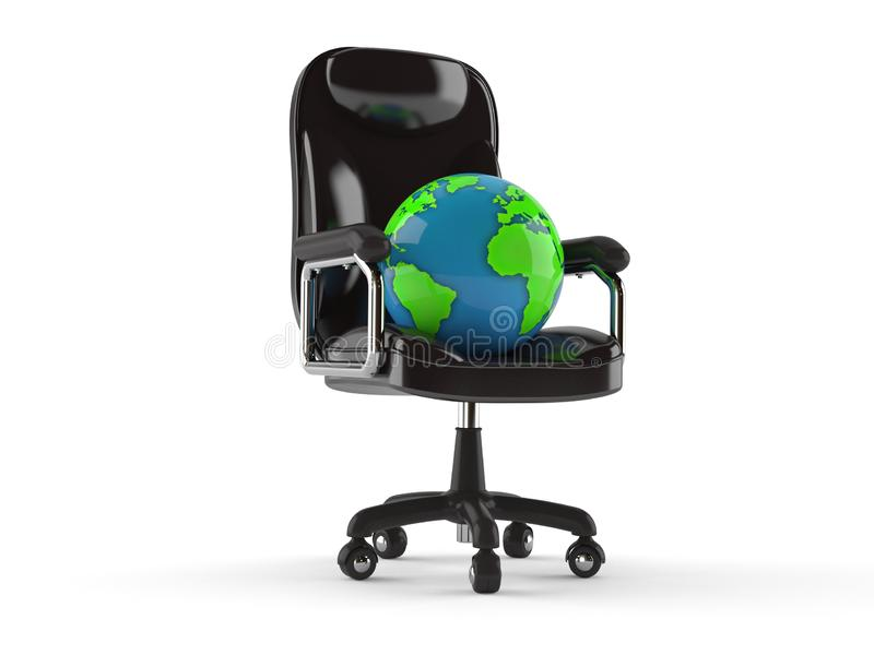 World globe on business chair. Isolated on white background. 3d illustration royalty free illustration