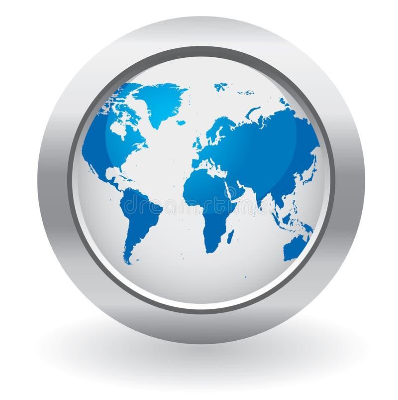World globe button vector illustration