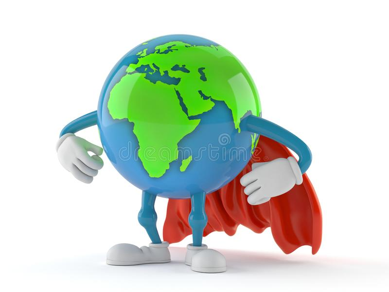 World globe character with hero cape. Isolated on white background. 3d illustration royalty free illustration