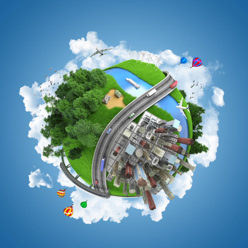 World globe concept. Globe concept showing the various modes of transport and life styles in the world stock illustration