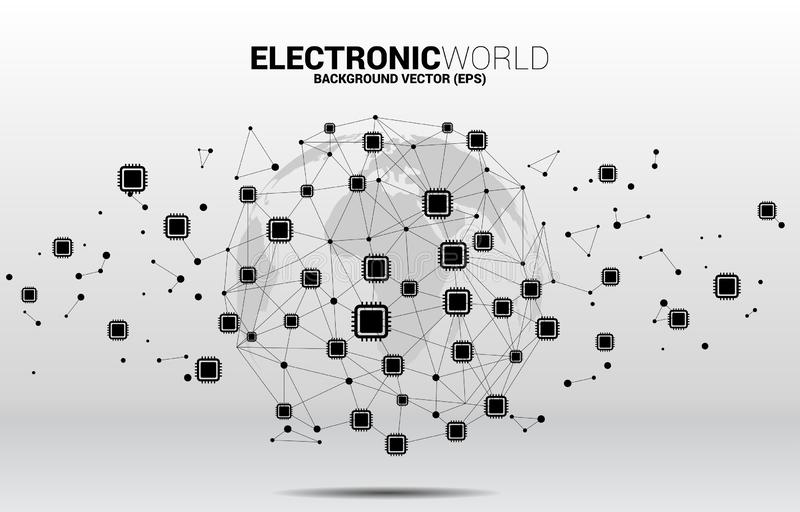 World Globe with CPU icon polygon dot connected line. Concept for global processor technology stock illustration