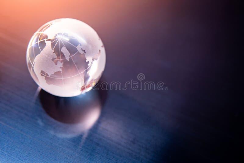 World globe crystal glass. Global business royalty free stock photos