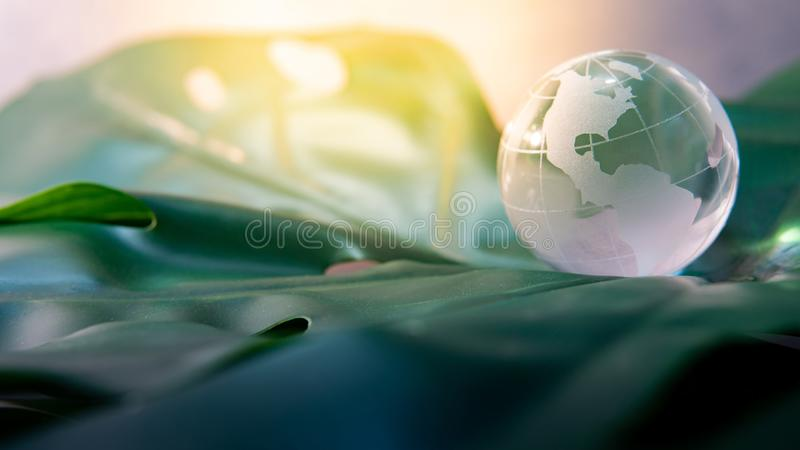 World globe crystal glass on green leaf. World globe cystal glass on green lush leaf. Environmental conservation. World environment day. Global business for stock photos